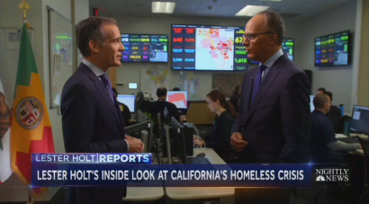 VOD - NBC Lets L.A. Mayor Blame Conservatives for Making City's Homelessness Worse