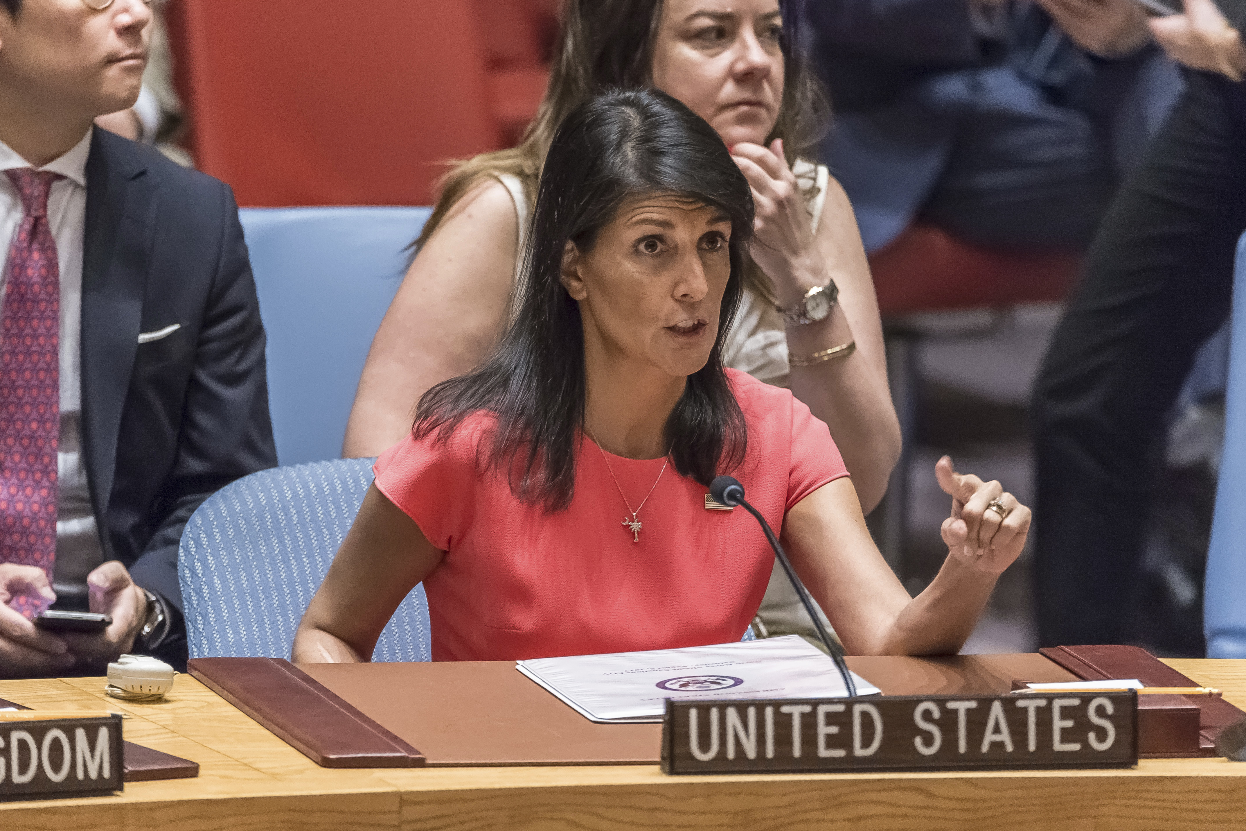 U.S. Ambassador to the UN Nikki Haley is seen during a meeting of the UN Security Council at UN Headquarters in New York, NY, USA on August 5, 2017.