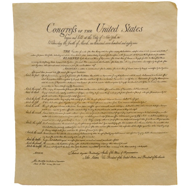 Bill of Rights Historical Document Large