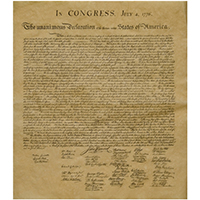 Declaration of Independence Parchment Reproduction