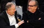 Bill chats with Jack Nicholson at a Los Angeles Lakers game.