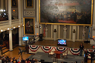 The stage is set for the Factor in Faneuil Hall in Boston, MA.