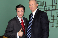 Bill and Stephen Colbert in the green room at The Colbert Report prior to taping.