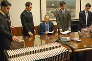 Bill signing books at the Nixon Library